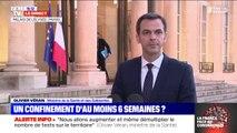 """Olivier Véran (ministre de la Santé): """"Le Conseil scientifique a estimé que le confinement pourrait s'étendre pour une durée de l'ordre de 5 à 6 semaines"""""""