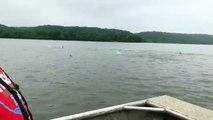 So many fish jumping next to my boat