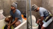 Watch : Shikhar Dhawan Washing Clothes & Cleaning Toilet During Isolation