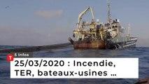 Incendie, TER, bateaux-usines … Cinq infos bretonnes du 25 mars