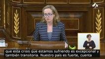 Calviño defiende las medidas aprobadas por el Gobierno para hacer frente a la crisis del coronavirus