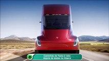 Caminhão da Tesla é visto depois de testes no Alasca