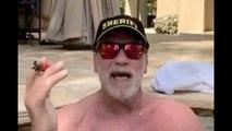 Arnold Schwarzenegger posts coronavirus PSA from hot tub