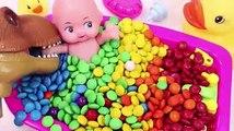 Learn Colors MandMs Chocolate Baby Doll Bath Time and Ice Cream Cups Surprise Toys