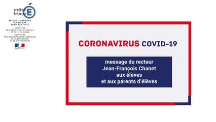 Message du recteur Jean-François Chanet aux élèves et aux parents d'élèves