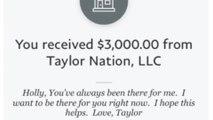 Taylor Swift offre 3.000 dollars à des fans en difficulté