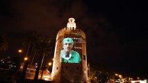 Imágenes de sanitarios proyectadas sobre la Torre del Oro en Sevilla.