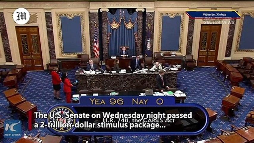 U.S. Senate passes 2 tln USD stimulus package to blunt COVID-19 fallout