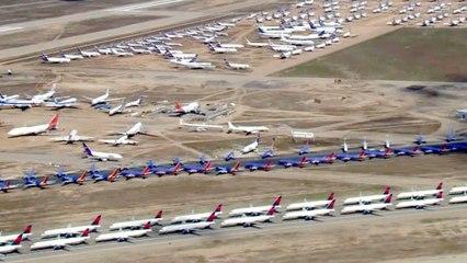 Luchthavens worden gigantische parkeerplaatsen te midden van het Coronavirus