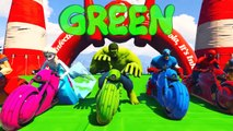 Super Heros For Kids - LEARN COLORS for Children W Spiderman and Superheroes Cycles Racing w Street Vehicles for Kids #13