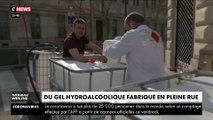 Un pharmacien parisien fabrique du gel hydroalcoolique en pleine rue