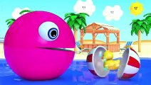 Learn Colors With Animal - Learn Colors with PACMAN as eat Fish and Soccer Ball on the Sea and slides down a magic slide