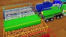 Enseña colores con tanques de agua pintando bolas, automóviles consiguiendo nuevas ruedas