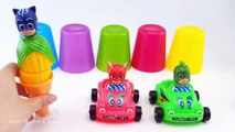 Kids Toy Videos US - Aprender color con la máscara de PJ cambio de la fruta del helado juguetes sorpresa juguetes