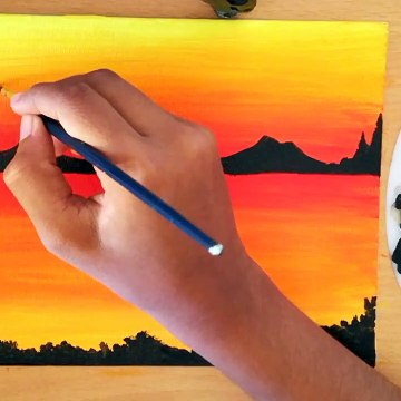How to paint a sunset for beginners using acrylics