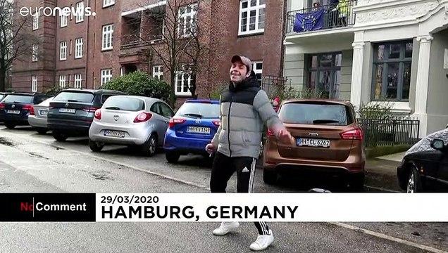 شاهد: تدريبات رياضية يومية في شرفات المنازل في هامبورغ