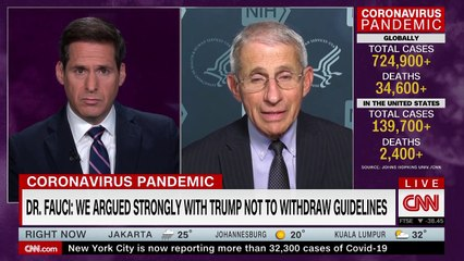 Fauci reveals why Trump changed his mind about re-opening US