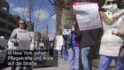 """Wir sterben"": Krankenhausmitarbeiter in New York protestieren"