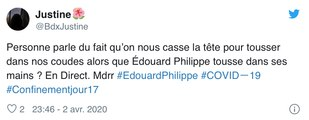 Coronavirus :  Edouard Philippe tousse dans ses  mains, il se fait  incendier par les internautes