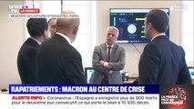 Virus: Emmanuel Macron en visite au centre de crise du Quai d'Orsay