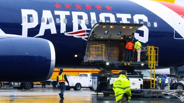 New England Patriots Plane Brings One Million Masks Home
