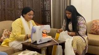 Union Minister Gajendra Singh's wife stitches masks