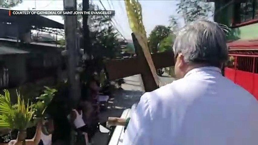 Archbishop Villegas drives through streets to bless 'palaspas'