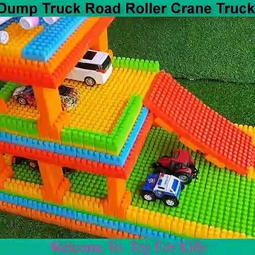 Learn Colors With Blocks and Cars Toys Dump Truck Road Roller Crane Truck Toy Cars for Kids