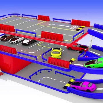 Learn Colors With Animal - Hot Wheels Toy Cars Multilevel Parking for Kids to Learn Colors for Children, Parking Videos