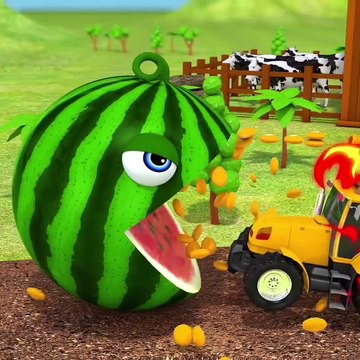 Learn Colors With Animal - Learn Colors with Pacman as he chomps Fruit on Tree and rolls down a magic slide
