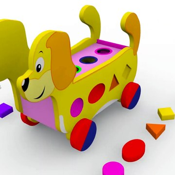 Learn Shapes and Colors with The Wooden Shapes Truck Carrying A Lot of Shapes for Kids