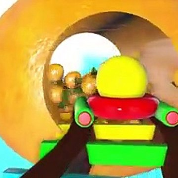 Kids Toy Videos US - Pacman travel around fruit rail and he meets a ladybug, sail, plane toy, ice cream car