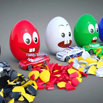 Vehicles and Surprise Eggs- 3D Opening Kinder Surprise Egg with Magic Cars and Trucks Toys