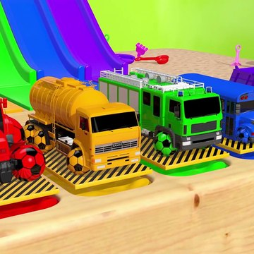 Learn Colors With Animal - Learn Colors with Street Vehicle and Flying Toy Car in Magic Slide Pool Pretend Play for Kids
