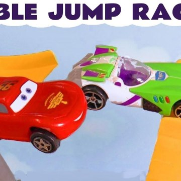 Hot Wheels Cars Jump Race with Disney Pixar Lightning McQueen and Paw Patrol Mighty Pups vs Funny Funlings in this Family Friendly Full Episode English Toy Story from a Family Channel