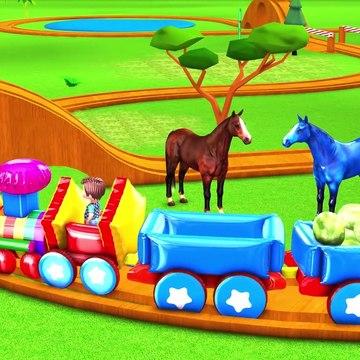 Inflatable Toy Train Feeding Farm Animals For Children