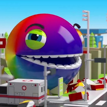 Pacman hide and roll around city and he eat many fruits on tow truck