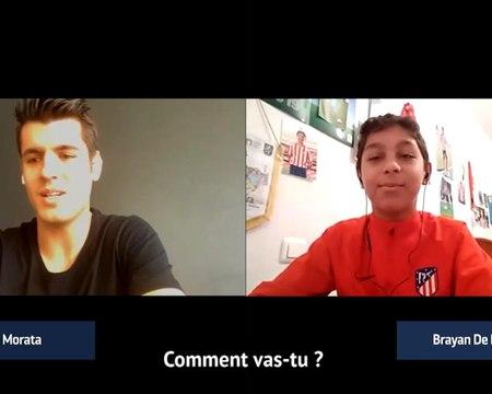 Atlético Madrid - Alvaro Morata discute avec un jeune du centre de formation