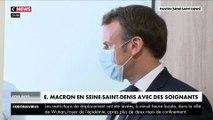 Emmanuel Macron en Seine-Saint-Denis avec des soignants