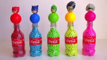 Learn Colors With Animal - 5 Pj Masks Bottles with Balls Beads, Learn Colors wit