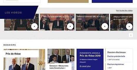 Didacticiel de la page d'accueil du site du Conseil constitutionnel