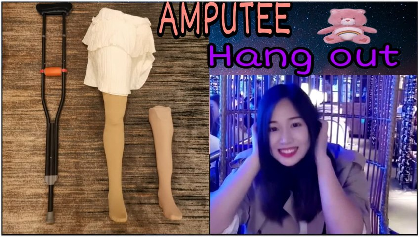 Beautiful Asia Amputee #1 : Amputee model | Crutching with Prosthetic leg |