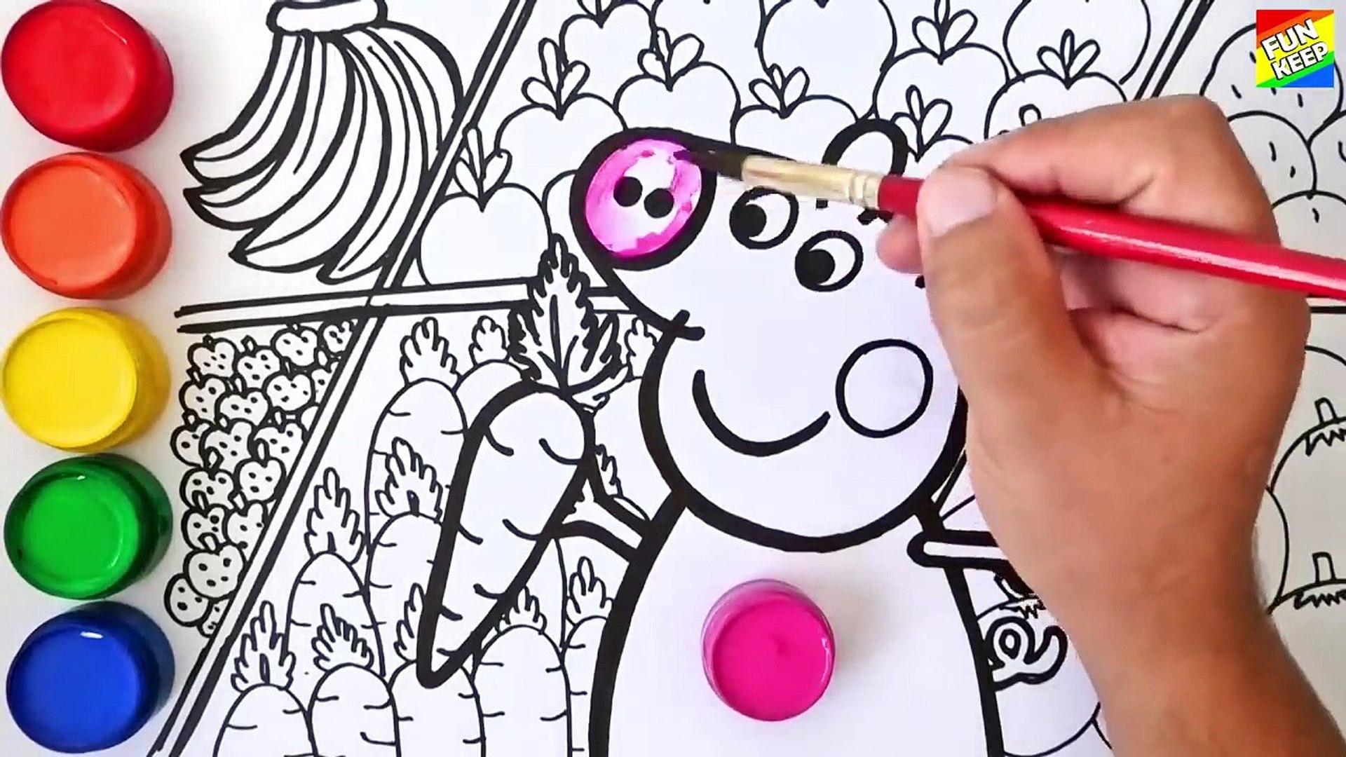 Como Dibujar Y Colorear A Peppa Pig En El Supermerdado Comprando