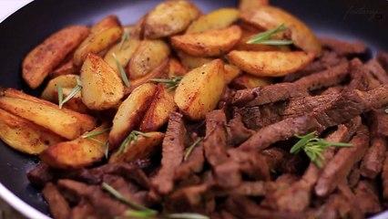 Delicious Steak & Potato Skillet Recipe - وصفة الستيك بشرائح البطاطس الشهية
