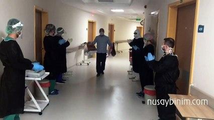 Nusaybin'de iyileşen Kovid-19 hastaları alkışlarla taburcu edildi