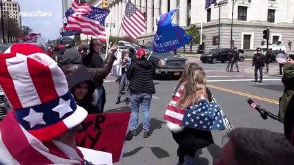 Protesters in Albany demand New York Governor Cuomo end the coronavirus lockdown