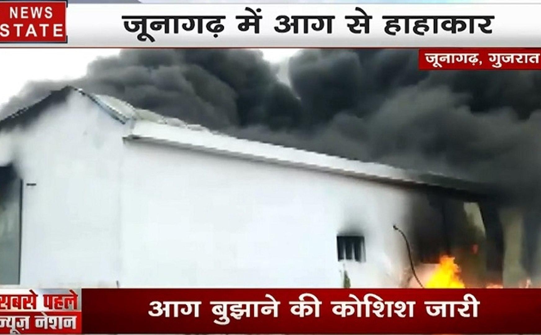 गुजरात: जूनागढ़- प्लास्टिक फैक्ट्री में लगी भीषण आग, देखें वीडियो