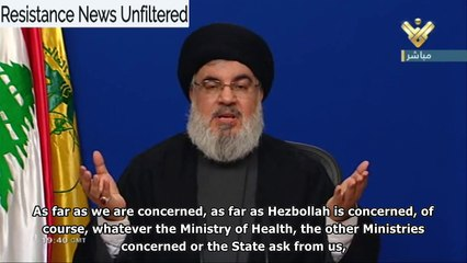Nasrallah: 20,000 Hezbollah health workers are already fighting Covid-19