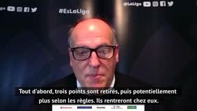"""La Liga - Tebas : """"Des points seront retirés aux équipes qui ne veulent pas jouer"""""""
