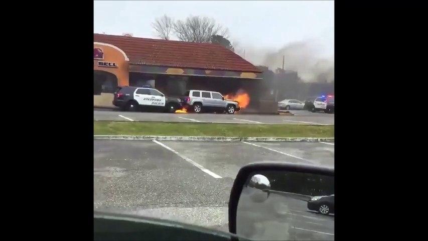 Ce policier a un réflexe incroyable en voyant une voiture en flamme devant un restaurant